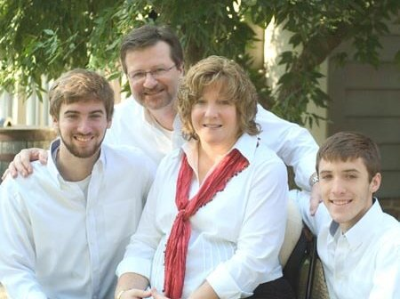 Patty and her family (husband and two older sons)
