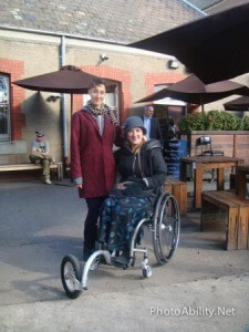 Moms on Wheels 002 225x300 - Mother in a wheelchair with her daughter at an outdoor restuarant