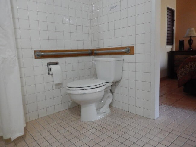 ADA compliant toilet with grab bars - Maui Accessible Condo