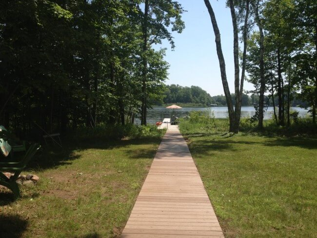 Boardwalk from pation to Lake Namakagon Summer1 - Namakagon Landing Accessible Lakehome