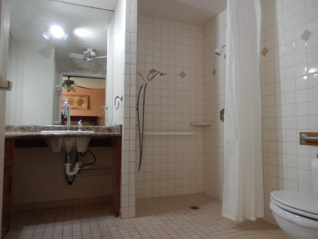 Large roll in shower in the master bathroom - Maui Accessible Condo