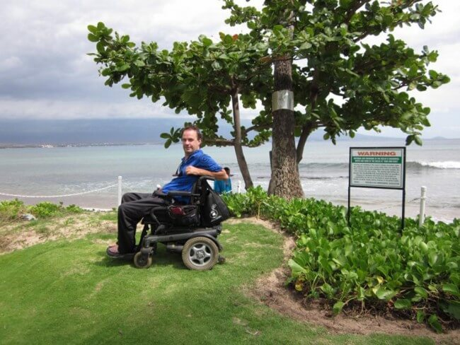 Purpose built raised area for better wheelchair viewing of the ocean and beach - Maui Accessible Condo