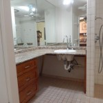 Roll under sink in master bathroom with lots of counter space and mirrors. 150x150 - Maui Accessible Condo