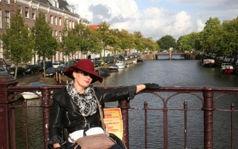 Deborah looking very comfortable in Amsterdam, Netherlands.