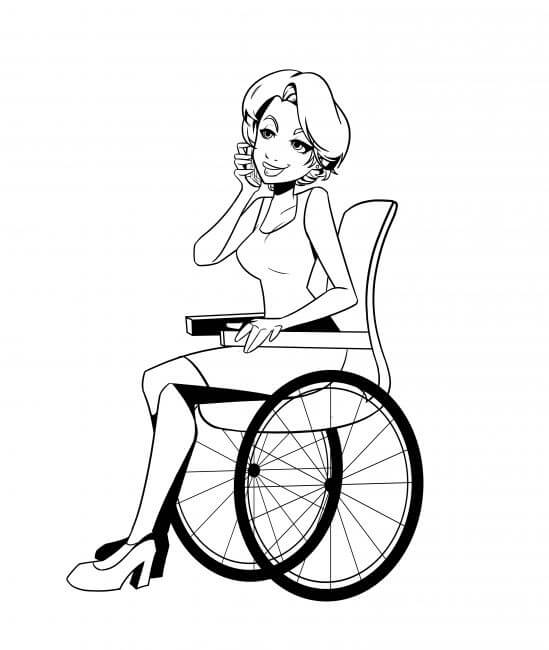 Illustration of girl in wheelchair on phone
