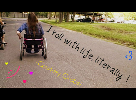 image of a girl sitting on a wheelchair rolling on it on road with a quotation written on image