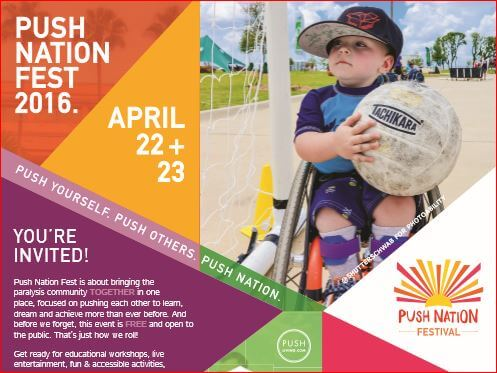 Image of a child in wheelchair holding a ball on flyer image for Push Nation Fest event