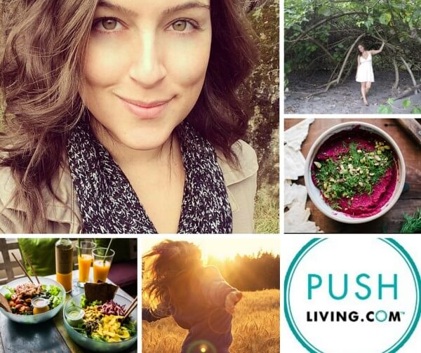Image of Ariane, food, and shakes, with Push Living Logo