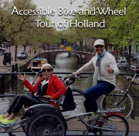 image of a woman sitting on a special disability bike with a tour guide riding it and smiling
