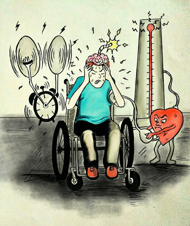 A cartoon boy sitting on a wheelchair with his hands on his head suffering from the onset-of-Dysreflexia