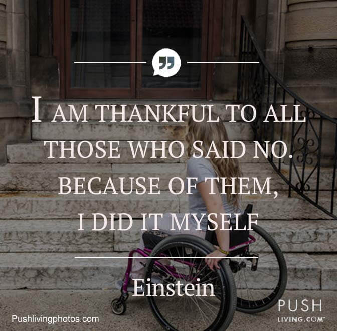 A picture with women in a wheelchair with imprinted with Einstein quote