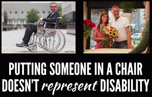collage of two images one with a man sitting on a wheelchair smiling and the other one of beautiful couple standing and smiling with sun flowers in her hand