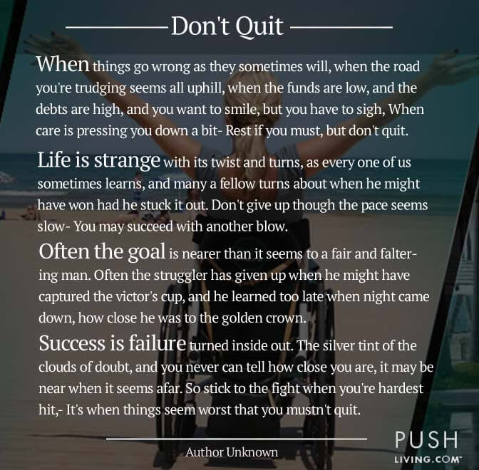 image with a quotation on don't quit