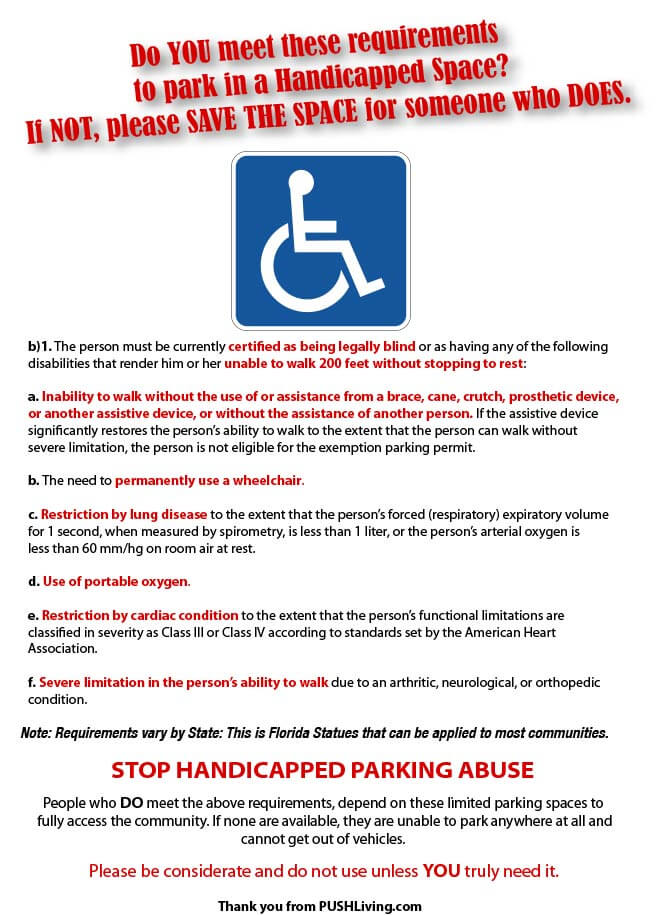 Handicapped Parking - ASK PUSHLiving: What to do if you see someone abusing handicap parking?