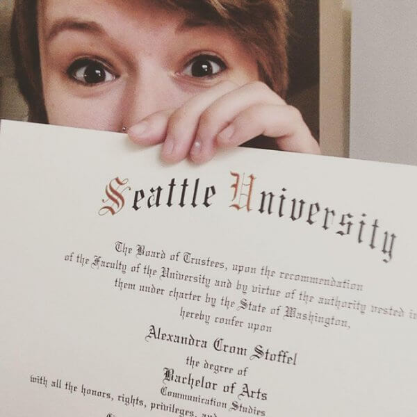 alexandra showing her seattle university diploma 600x600 - I Feel Numb: I Deserve Respect, Dignity and Equality