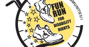 logo image of a fun run for disability rights
