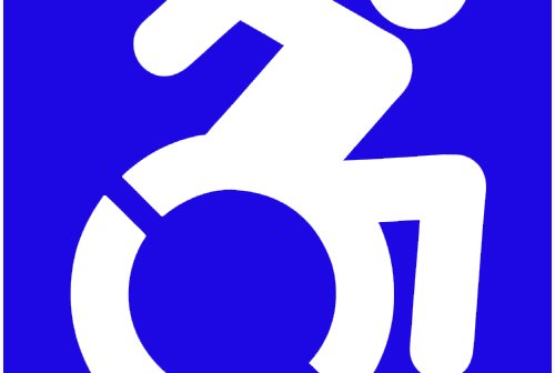 accessible icon of a man sitting on wheelchair and pulling it with blue background