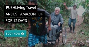 A man sitting in a wheelchair exploring the Amazon