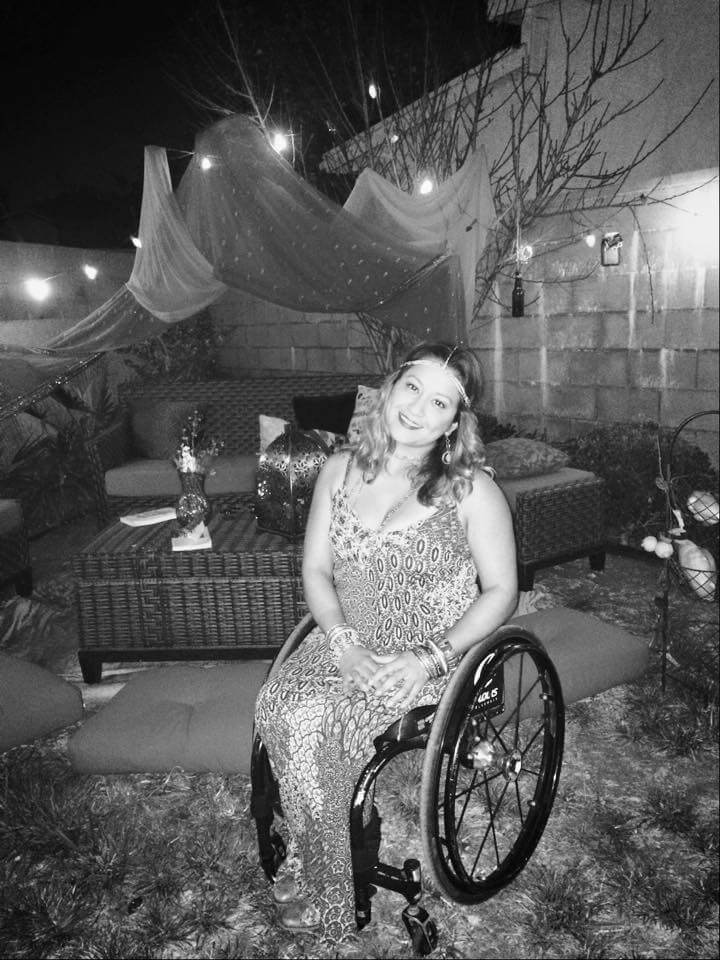 Black-and-White-photo-of-Cynthia-in-a-dress-in-a-outdoor-garden-at-night