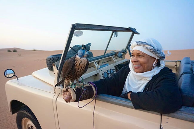 Alana Wallace in Dubai on Safari - Sassy, Single and 66! Changing Perceptions of What a Woman Her Age with a Disability, Can and Will Do!