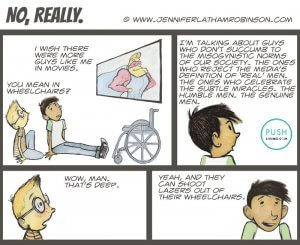 Actors in Wheelchairs 300x245 - Cartoonist Characters talking about real men.
