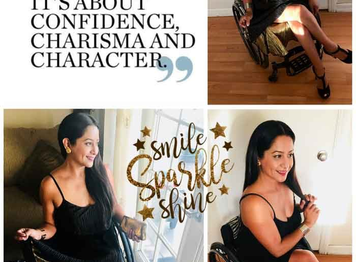 Disabled women sitting on a wheelchair wearing beautiful dress in multiple pictures