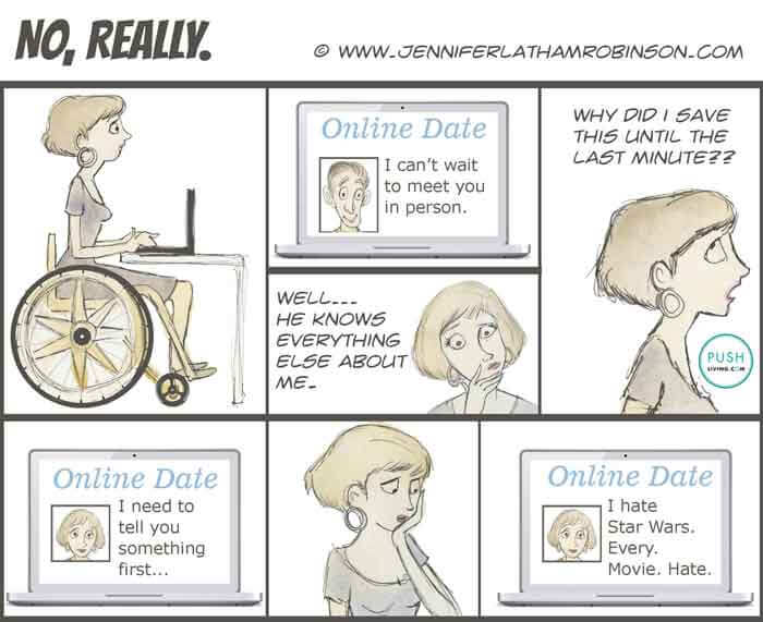 a comic strip about online dating in wheelchair