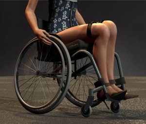 joana 300x255 - Artist rendering of woman sitting in a wheelchair with legs tied together