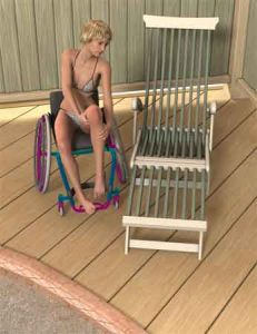 transferready by steske d8uyjrj 231x300 - Beautiful disabled woman in wheelchair transferring to lounge chair