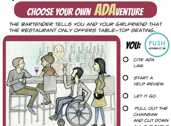 Going to the restaurant: a young man in wheelchair comes into the restaurant with a girlfriend and the bartender offers only High-Top Tables Suck. Poll: What would you do?