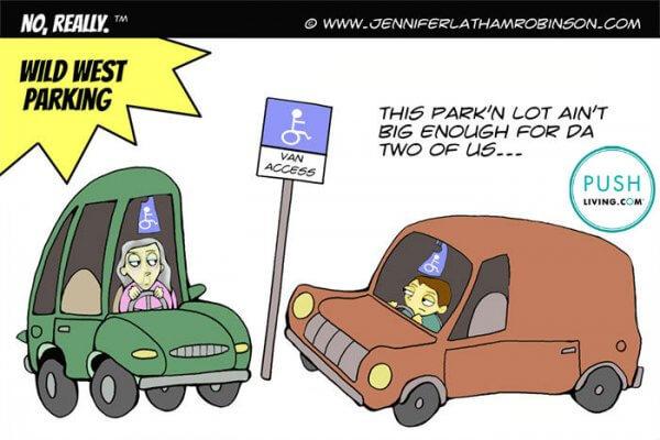 WILD WEST PARKING Disability Comic 600x400 - PUSHLiving Comic Strip: WILD WEST PARKING Disability Comic