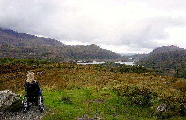 Paralized woman in mountain 600x386 - Wheelchair Accessible Ireland Tour - Join Us In One of the Most Loved Countries