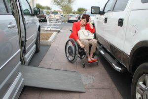 PL ESFFFDV original 300x200 - Woman in a wheelchair going shopping with her accessible van.